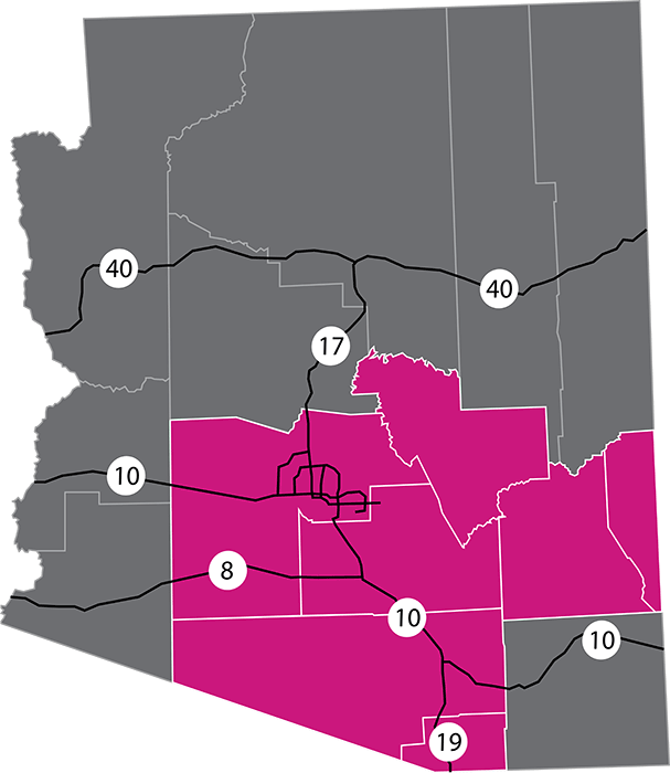 Map Of Just Arizona.Coverage Area Map